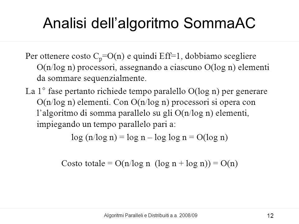 Algoritmi Paralleli e Distribuiti a.a. 2008/09 12 Analisi dellalgoritmo SommaAC Per ottenere costo C p =O(n) e quindi Eff=1, dobbiamo scegliere O(n/lo