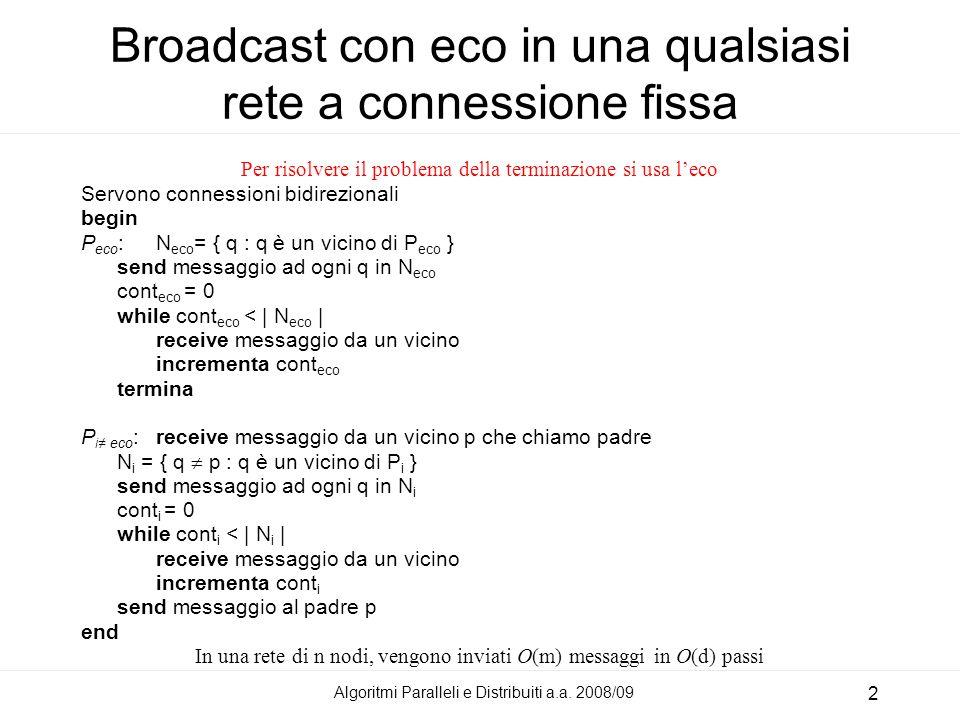 Algoritmi Paralleli e Distribuiti a.a. 2008/09 2 Broadcast con eco in una qualsiasi rete a connessione fissa Per risolvere il problema della terminazi