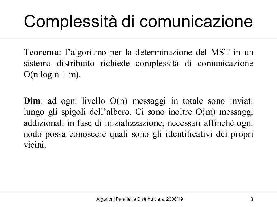 Algoritmi Paralleli e Distribuiti a.a. 2008/09 3 Complessità di comunicazione Teorema: lalgoritmo per la determinazione del MST in un sistema distribu