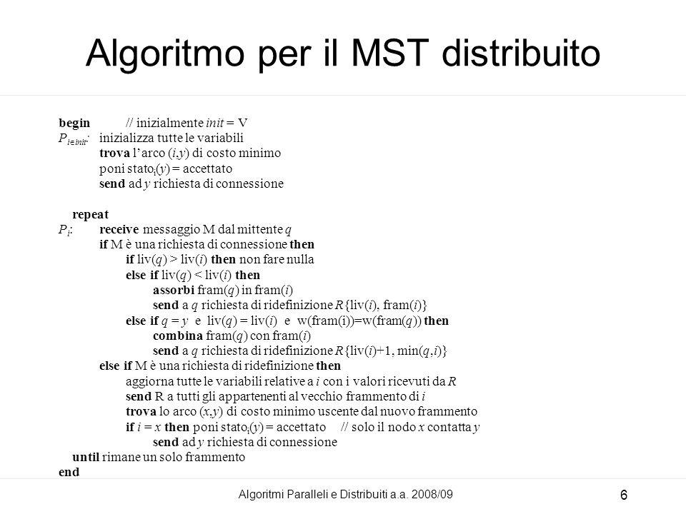 Algoritmi Paralleli e Distribuiti a.a. 2008/09 6 Algoritmo per il MST distribuito begin// inizialmente init = V P i init :inizializza tutte le variabi