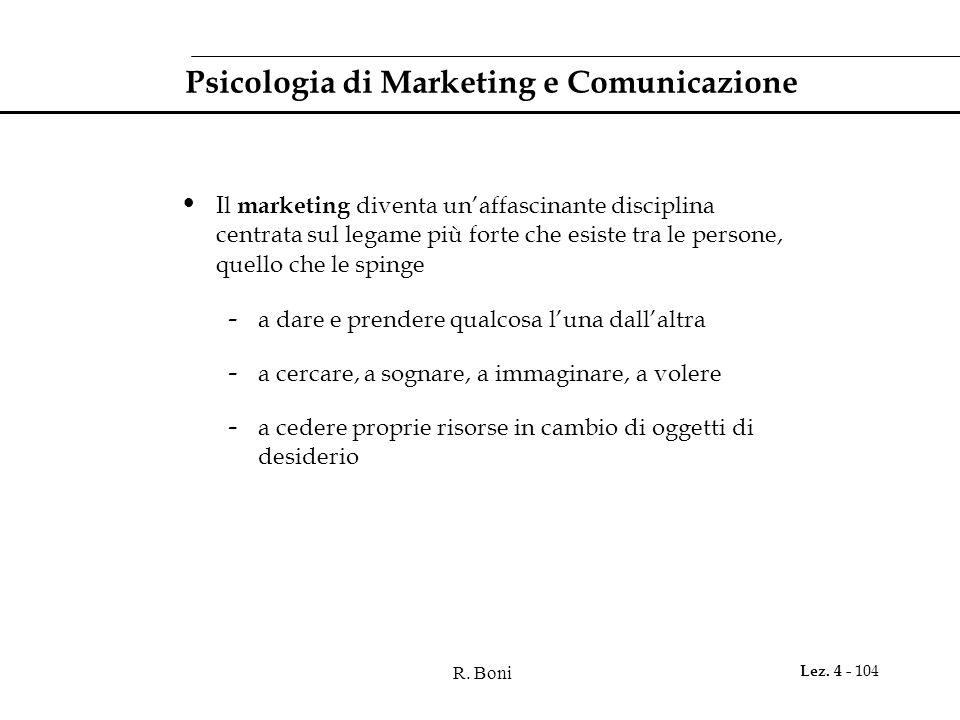 R. Boni Lez. 4 - 104 Psicologia di Marketing e Comunicazione Il marketing diventa unaffascinante disciplina centrata sul legame più forte che esiste t