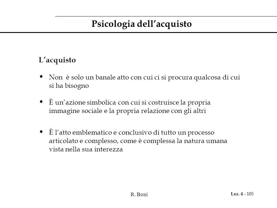 R. Boni Lez. 4 - 105 Psicologia dellacquisto Lacquisto Non è solo un banale atto con cui ci si procura qualcosa di cui si ha bisogno È unazione simbol