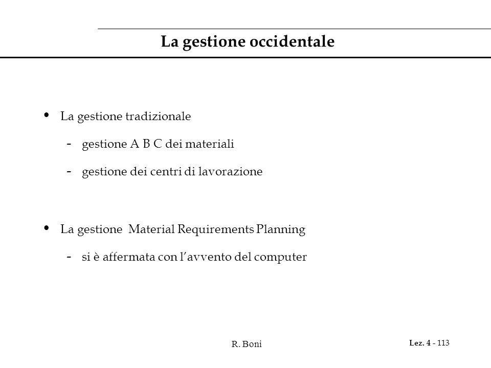 R. Boni Lez. 4 - 113 La gestione occidentale La gestione tradizionale - gestione A B C dei materiali - gestione dei centri di lavorazione La gestione