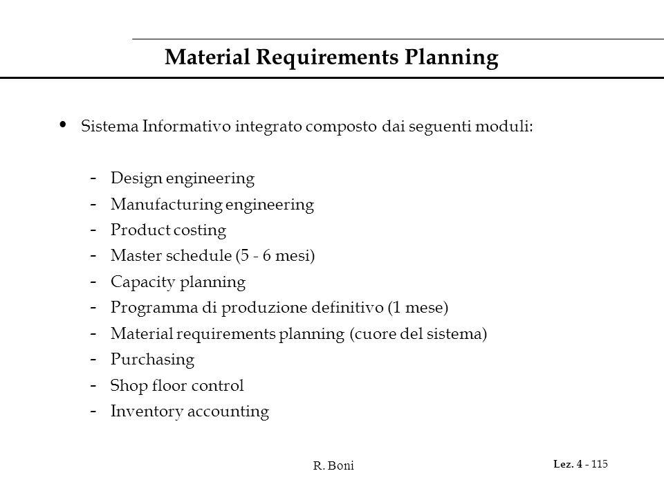R. Boni Lez. 4 - 115 Material Requirements Planning Sistema Informativo integrato composto dai seguenti moduli: - Design engineering - Manufacturing e