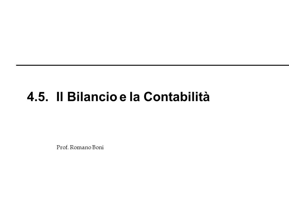 Prof. Romano Boni 4.5. Il Bilancio e la Contabilità