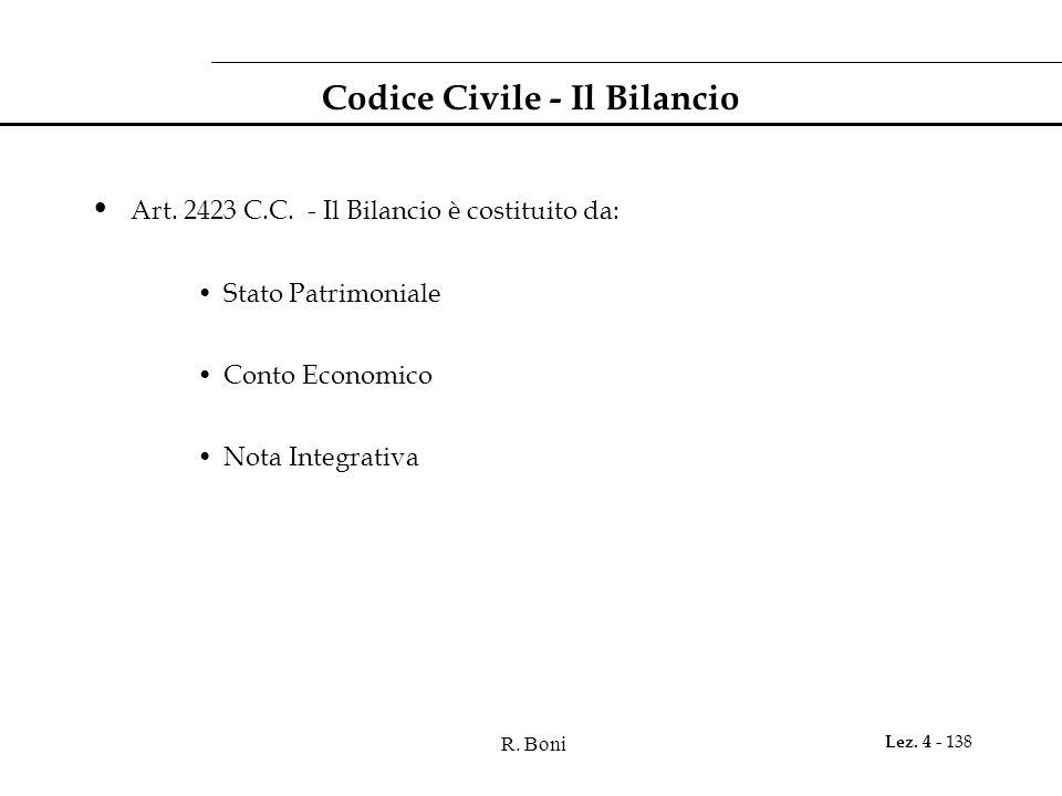 R. Boni Lez. 4 - 138 Codice Civile - Il Bilancio Art. 2423 C.C. - Il Bilancio è costituito da: Stato Patrimoniale Conto Economico Nota Integrativa