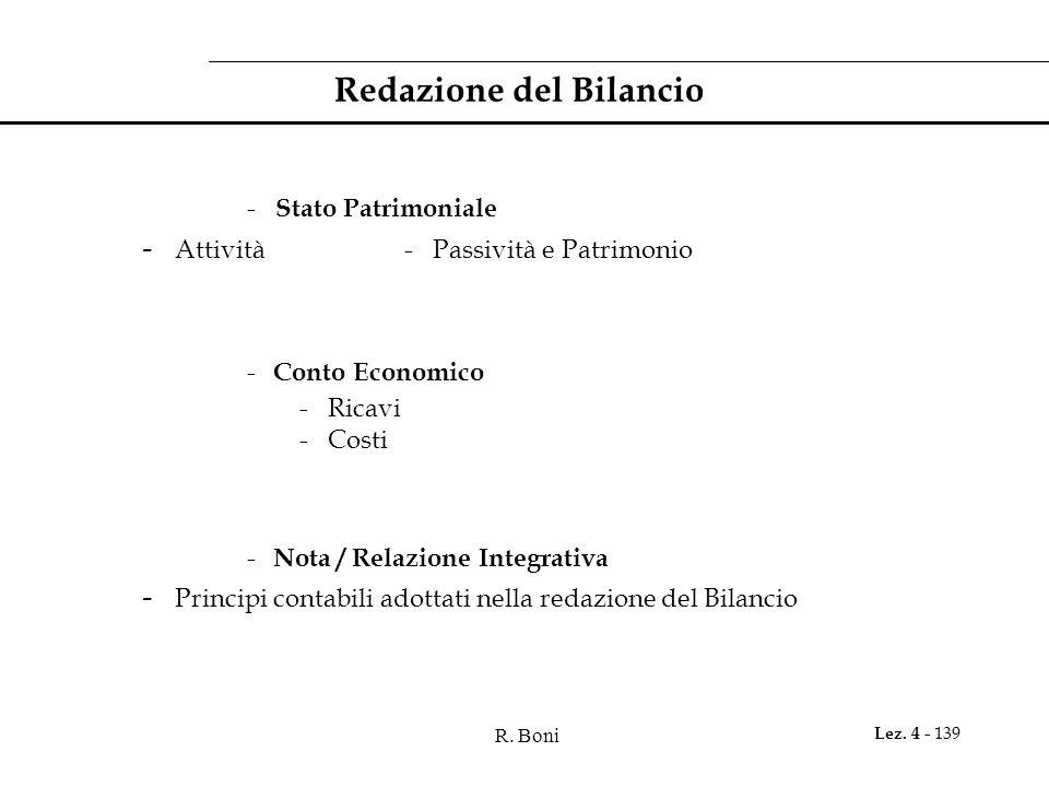 R. Boni Lez. 4 - 139 Redazione del Bilancio - Stato Patrimoniale - Attività- Passività e Patrimonio - Conto Economico - Ricavi - Costi - Nota / Relazi