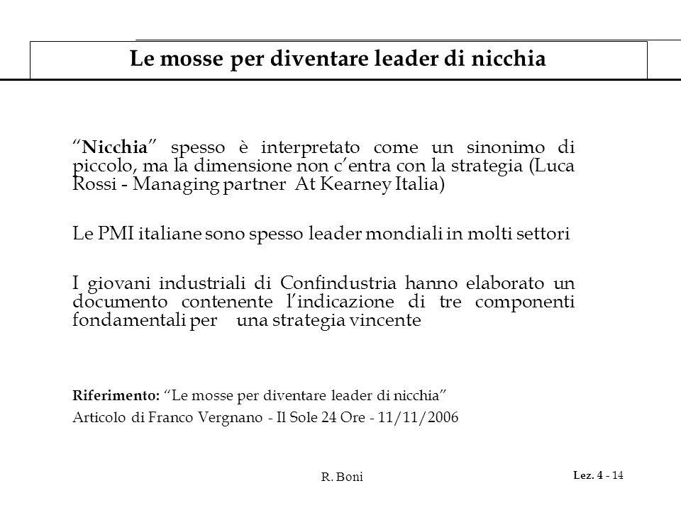 R. Boni Lez. 4 - 14 Le mosse per diventare leader di nicchia Nicchia spesso è interpretato come un sinonimo di piccolo, ma la dimensione non centra co