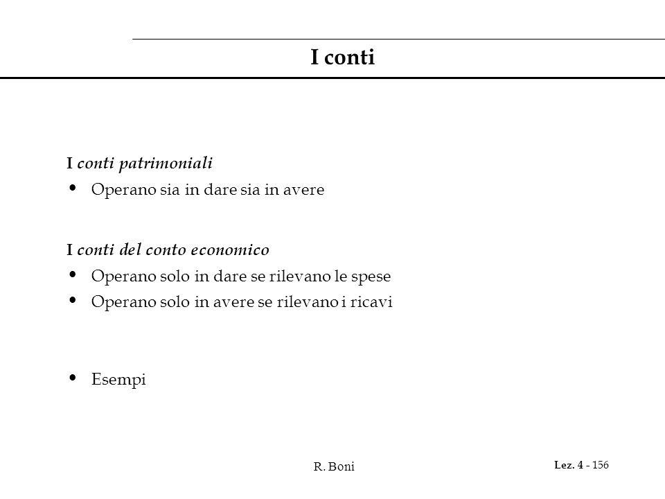 R. Boni Lez. 4 - 156 I conti I conti patrimoniali Operano sia in dare sia in avere I conti del conto economico Operano solo in dare se rilevano le spe