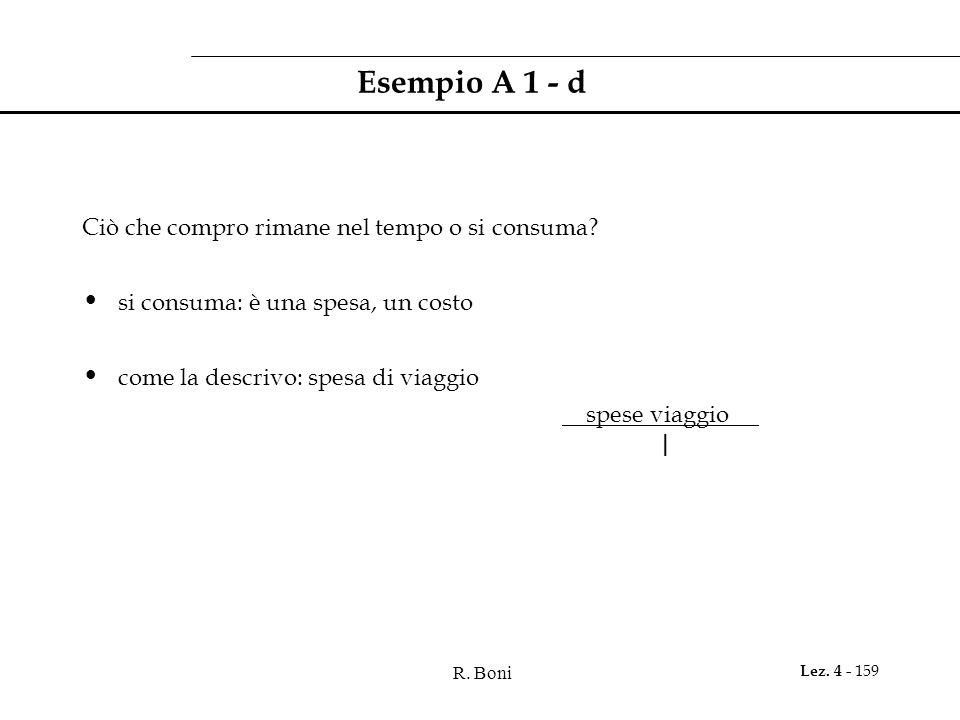 R. Boni Lez. 4 - 159 Esempio A 1 - d Ciò che compro rimane nel tempo o si consuma? si consuma: è una spesa, un costo come la descrivo: spesa di viaggi