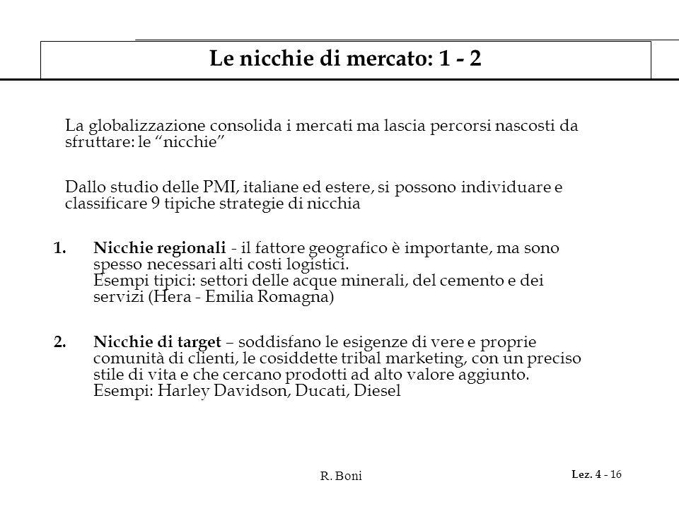R. Boni Lez. 4 - 16 Le nicchie di mercato: 1 - 2 La globalizzazione consolida i mercati ma lascia percorsi nascosti da sfruttare: le nicchie Dallo stu