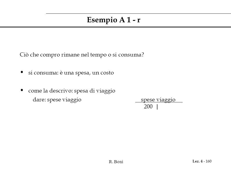 R. Boni Lez. 4 - 160 Esempio A 1 - r Ciò che compro rimane nel tempo o si consuma? si consuma: è una spesa, un costo come la descrivo: spesa di viaggi