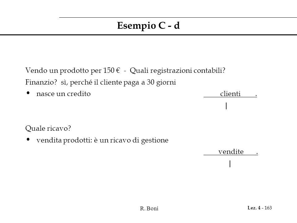 R. Boni Lez. 4 - 163 Esempio C - d Vendo un prodotto per 150 - Quali registrazioni contabili? Finanzio? sì, perché il cliente paga a 30 giorni nasce u