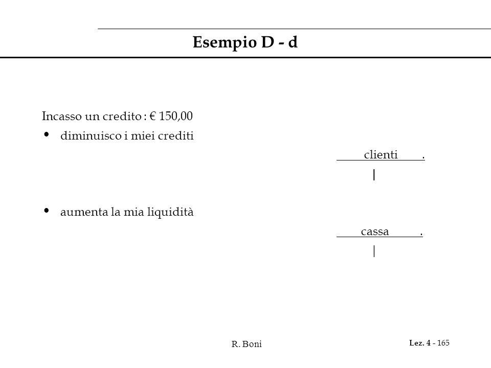 R. Boni Lez. 4 - 165 Esempio D - d Incasso un credito : 150,00 diminuisco i miei crediti clienti. | aumenta la mia liquidità cassa. |