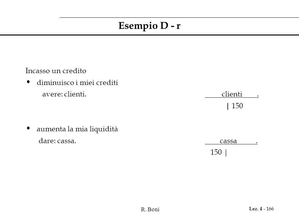R. Boni Lez. 4 - 166 Esempio D - r Incasso un credito diminuisco i miei crediti avere: clienti. clienti. | 150 aumenta la mia liquidità dare: cassa. c
