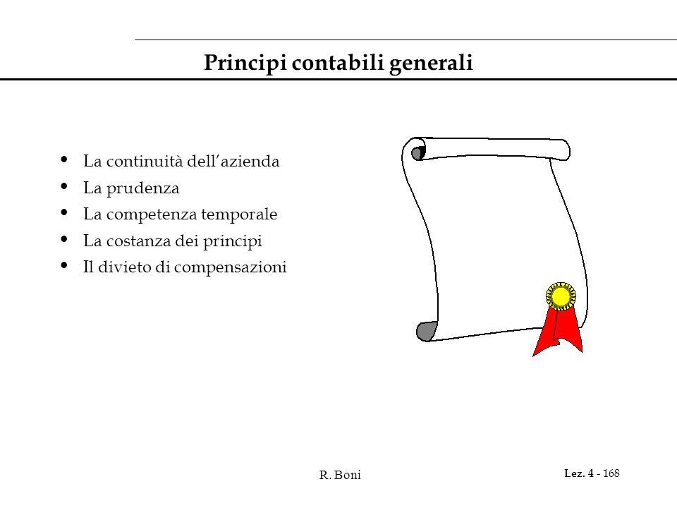 R. Boni Lez. 4 - 168 Principi contabili generali La continuità dellazienda La prudenza La competenza temporale La costanza dei principi Il divieto di