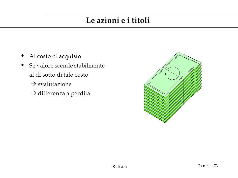 R. Boni Lez. 4 - 173 Le azioni e i titoli Al costo di acquisto Se valore scende stabilmente al di sotto di tale costo svalutazione differenza a perdit