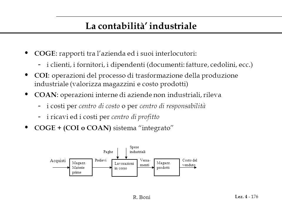 R. Boni Lez. 4 - 176 La contabilità industriale COGE : rapporti tra lazienda ed i suoi interlocutori: - i clienti, i fornitori, i dipendenti (document