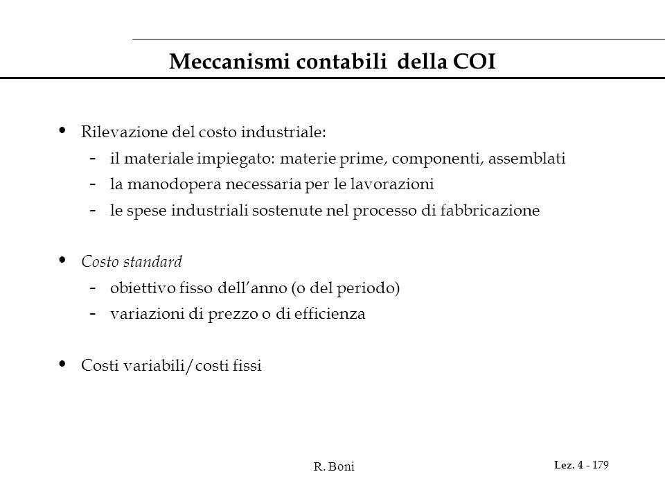 R. Boni Lez. 4 - 179 Meccanismi contabili della COI Rilevazione del costo industriale: - il materiale impiegato: materie prime, componenti, assemblati