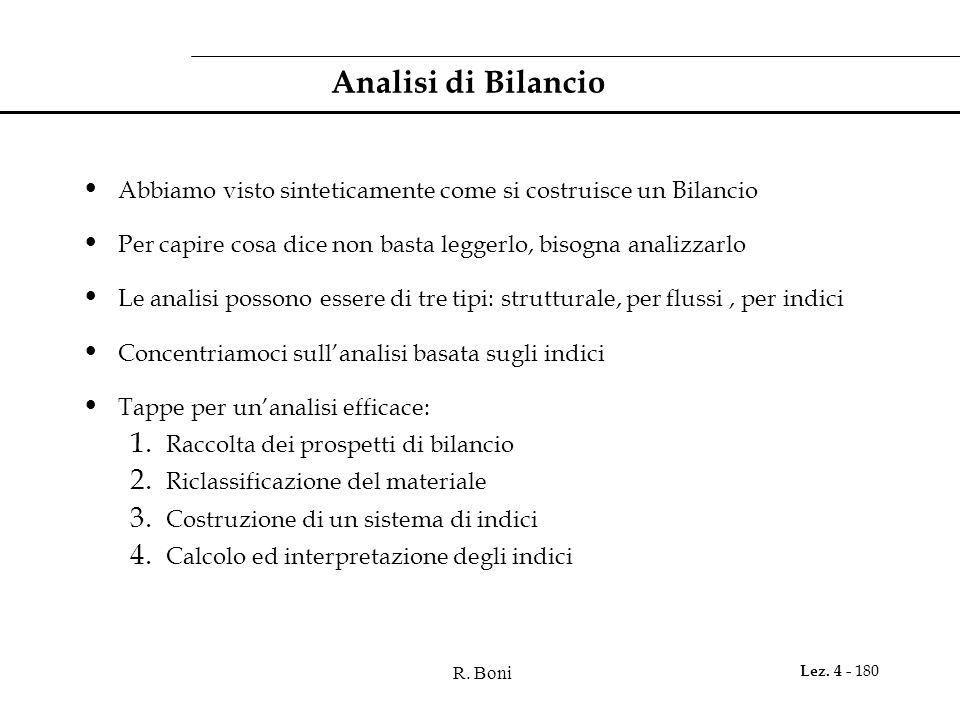 R. Boni Lez. 4 - 180 Analisi di Bilancio Abbiamo visto sinteticamente come si costruisce un Bilancio Per capire cosa dice non basta leggerlo, bisogna