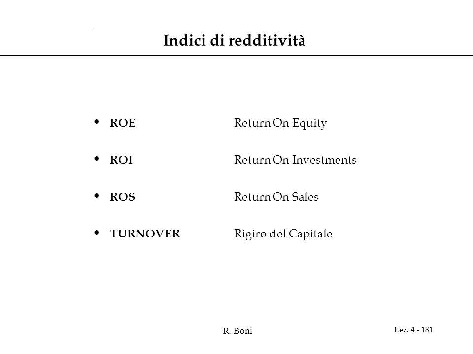 R. Boni Lez. 4 - 181 Indici di redditività ROE Return On Equity ROI Return On Investments ROS Return On Sales TURNOVER Rigiro del Capitale