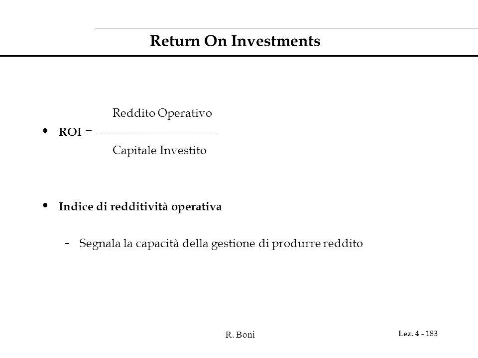 R. Boni Lez. 4 - 183 Return On Investments Reddito Operativo ROI = ------------------------------ Capitale Investito Indice di redditività operativa -