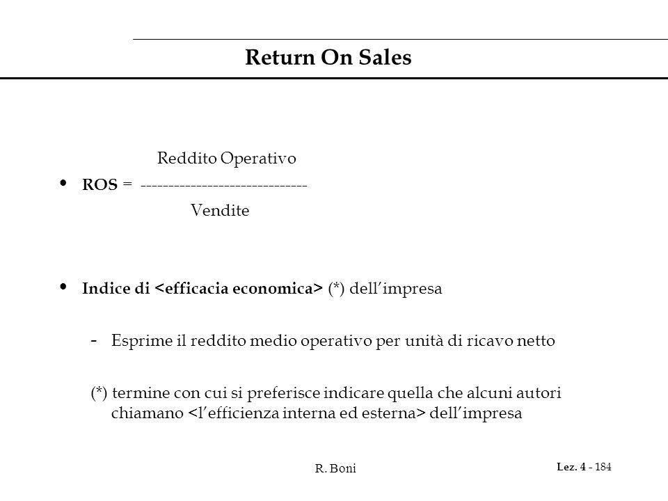 R. Boni Lez. 4 - 184 Return On Sales Reddito Operativo ROS = ------------------------------ Vendite Indice di (*) dellimpresa - Esprime il reddito med