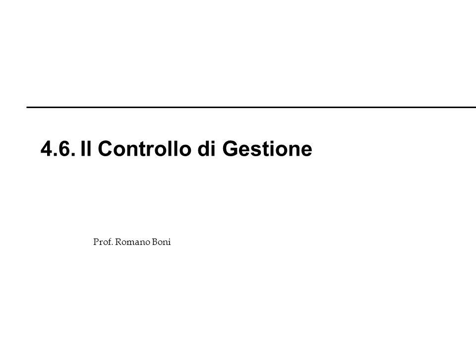 Prof. Romano Boni 4.6. Il Controllo di Gestione