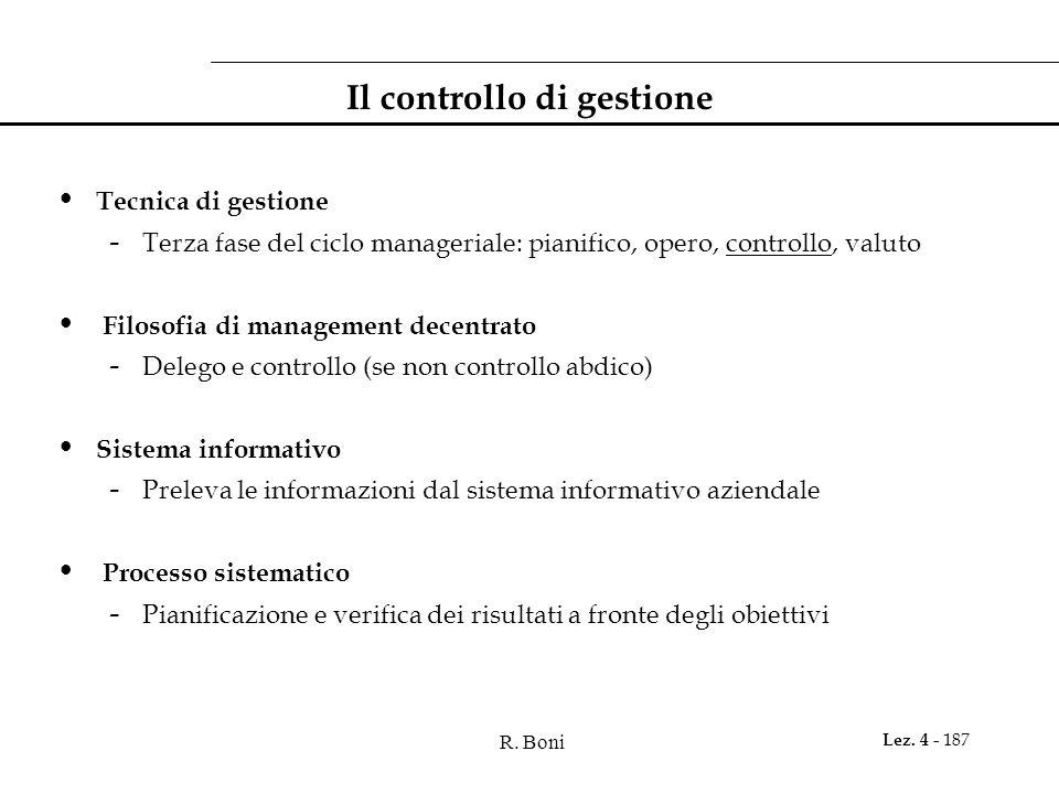 R. Boni Lez. 4 - 187 Il controllo di gestione Tecnica di gestione - Terza fase del ciclo manageriale: pianifico, opero, controllo, valuto Filosofia di