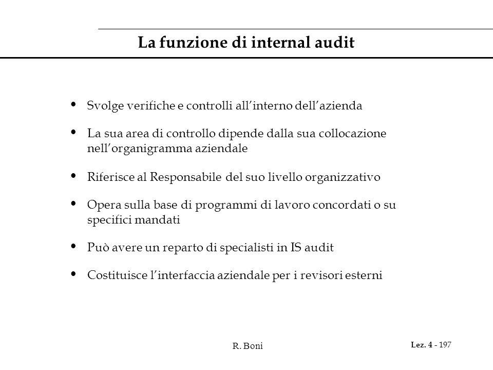 R. Boni Lez. 4 - 197 La funzione di internal audit Svolge verifiche e controlli allinterno dellazienda La sua area di controllo dipende dalla sua coll