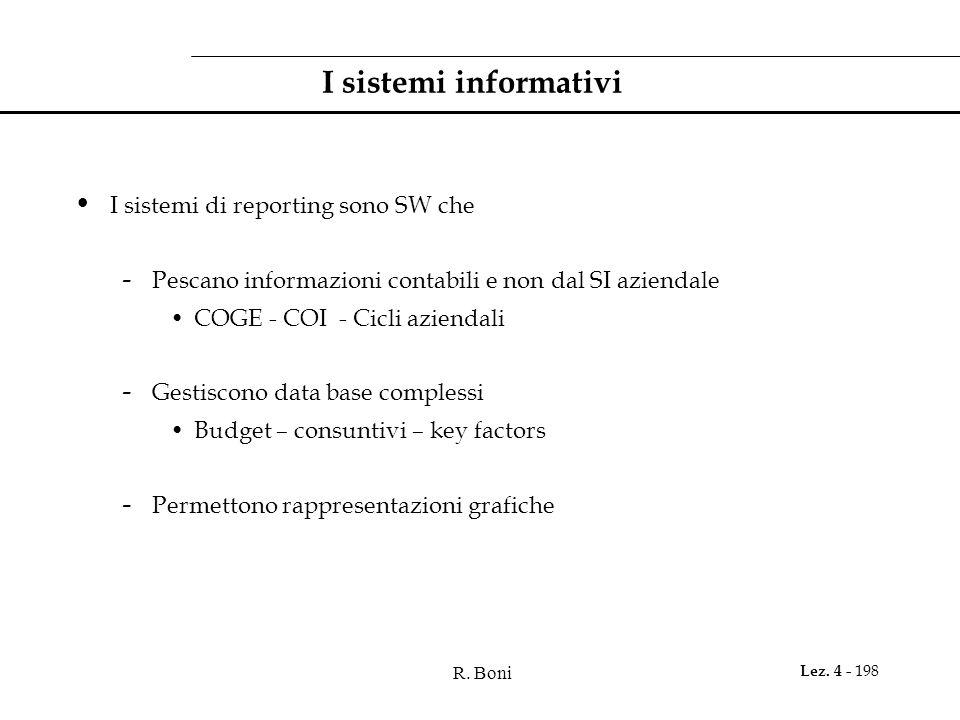 R. Boni Lez. 4 - 198 I sistemi informativi I sistemi di reporting sono SW che - Pescano informazioni contabili e non dal SI aziendale COGE - COI - Cic
