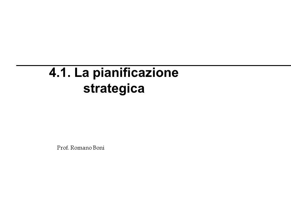 Prof. Romano Boni 4.1. La pianificazione strategica