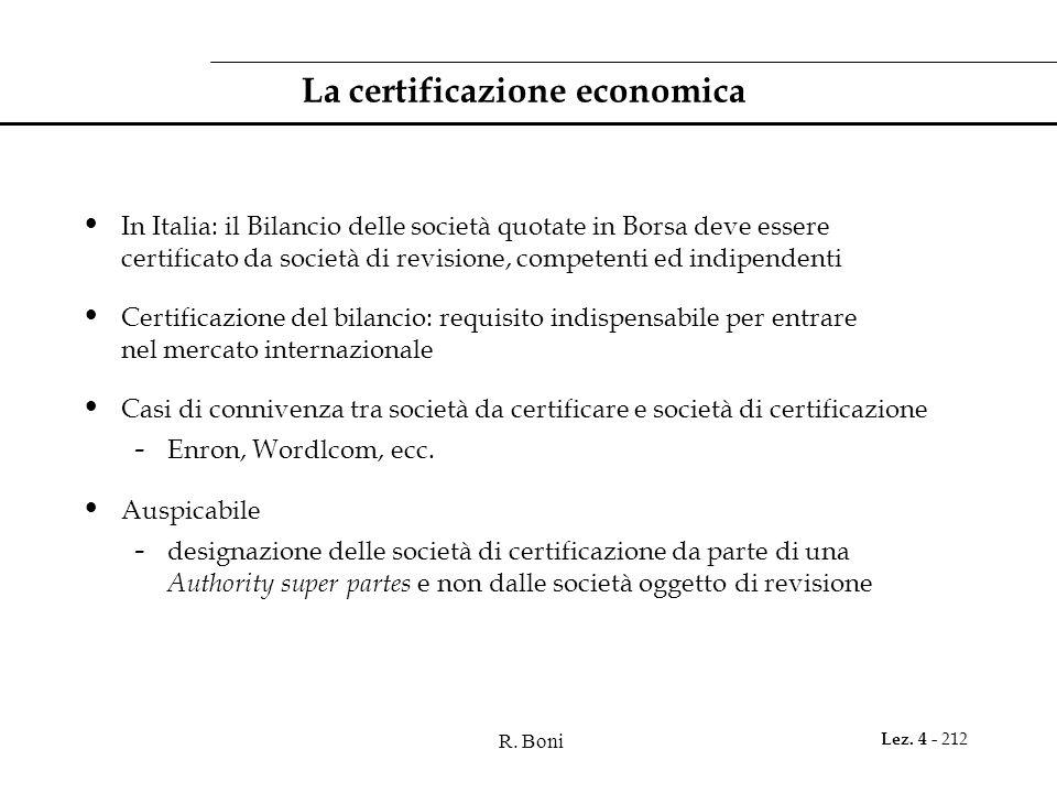 R. Boni Lez. 4 - 212 La certificazione economica In Italia: il Bilancio delle società quotate in Borsa deve essere certificato da società di revisione