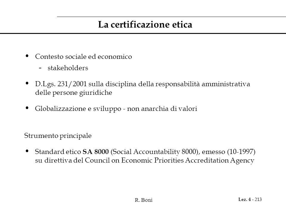 R. Boni Lez. 4 - 213 La certificazione etica Contesto sociale ed economico - stakeholders D.Lgs. 231/2001 sulla disciplina della responsabilità ammini
