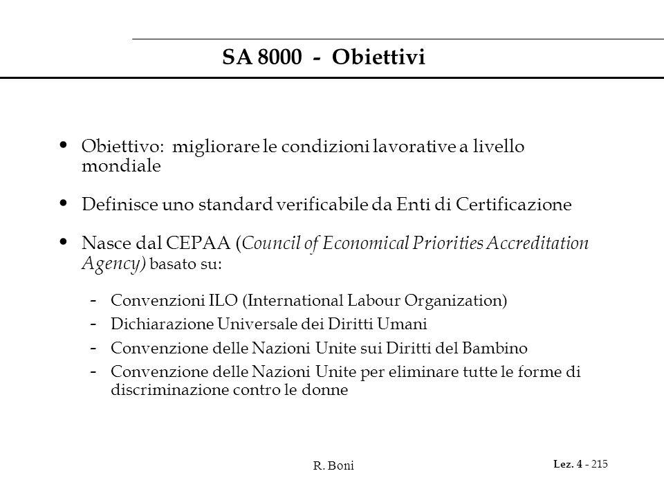 R. Boni Lez. 4 - 215 SA 8000 - Obiettivi Obiettivo: migliorare le condizioni lavorative a livello mondiale Definisce uno standard verificabile da Enti