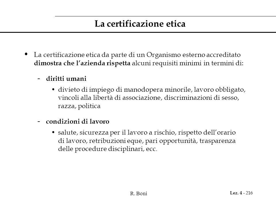 R. Boni Lez. 4 - 216 La certificazione etica La certificazione etica da parte di un Organismo esterno accreditato dimostra che lazienda rispetta alcun