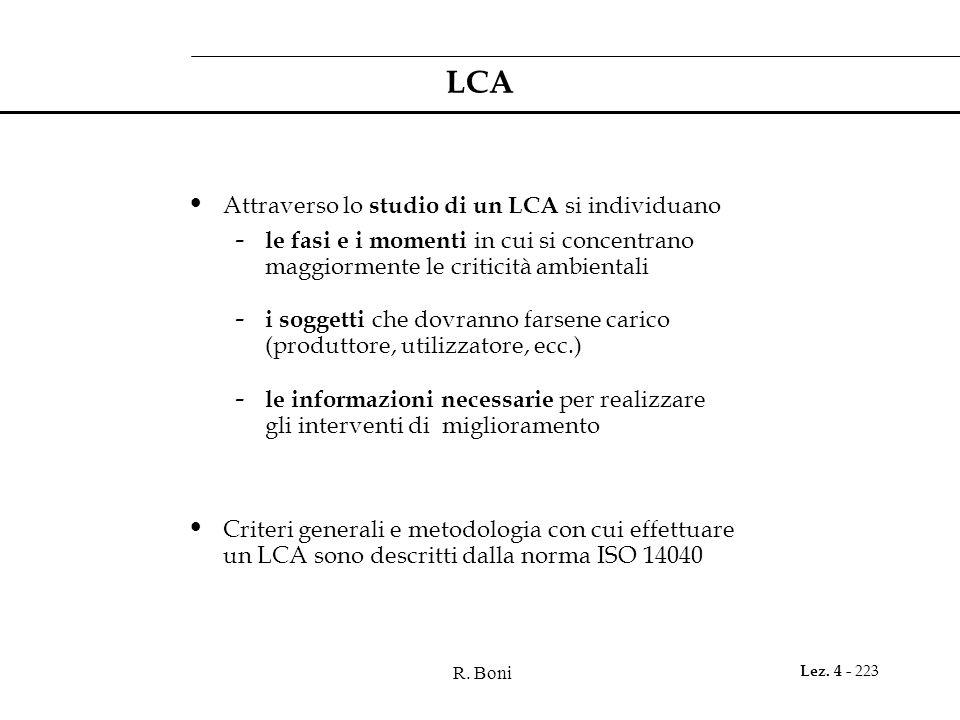 R. Boni Lez. 4 - 223 LCA Attraverso lo studio di un LCA si individuano - le fasi e i momenti in cui si concentrano maggiormente le criticità ambiental