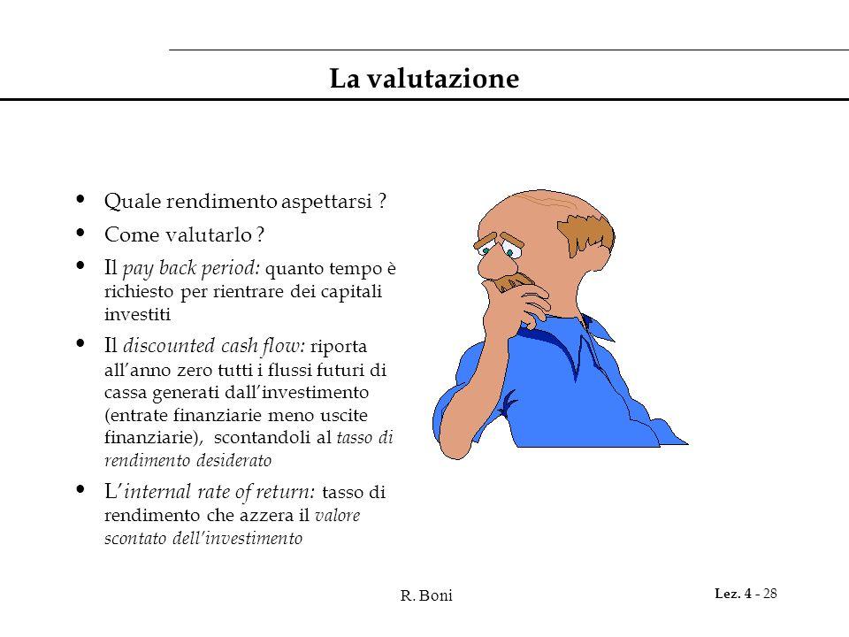 R. Boni Lez. 4 - 28 La valutazione Quale rendimento aspettarsi ? Come valutarlo ? Il pay back period: quanto tempo è richiesto per rientrare dei capit