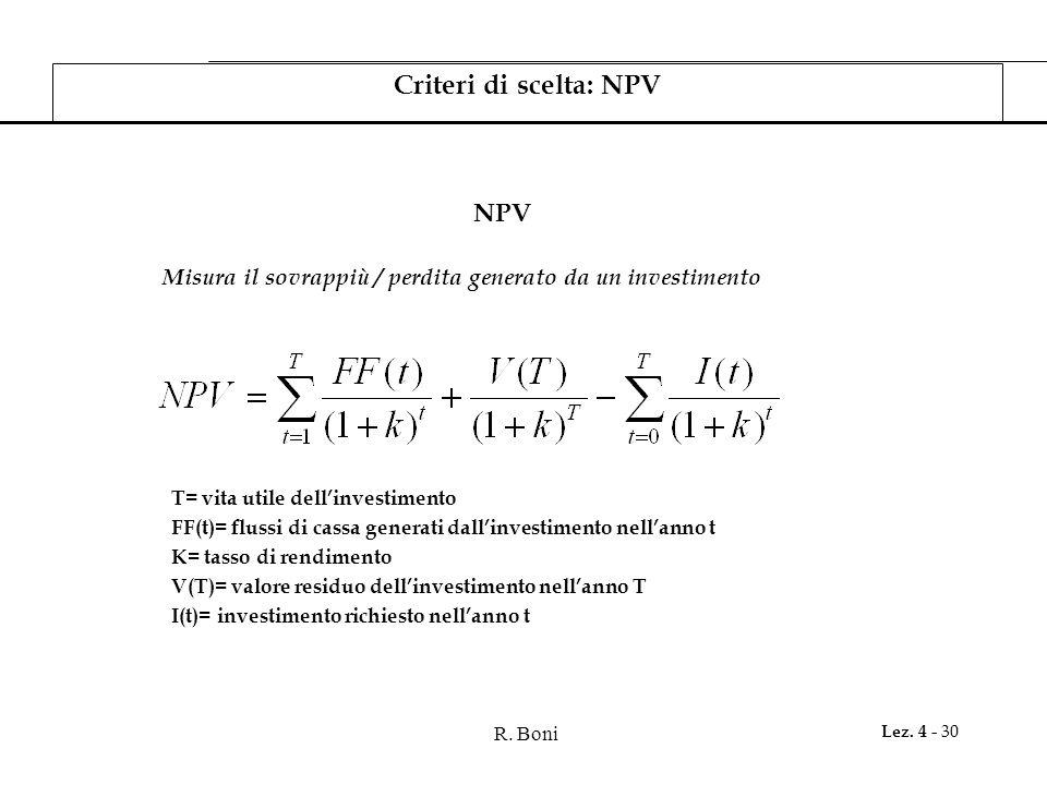 R. Boni Lez. 4 - 30 NPV Criteri di scelta: NPV Misura il sovrappiù / perdita generato da un investimento T= vita utile dellinvestimento FF(t)= flussi