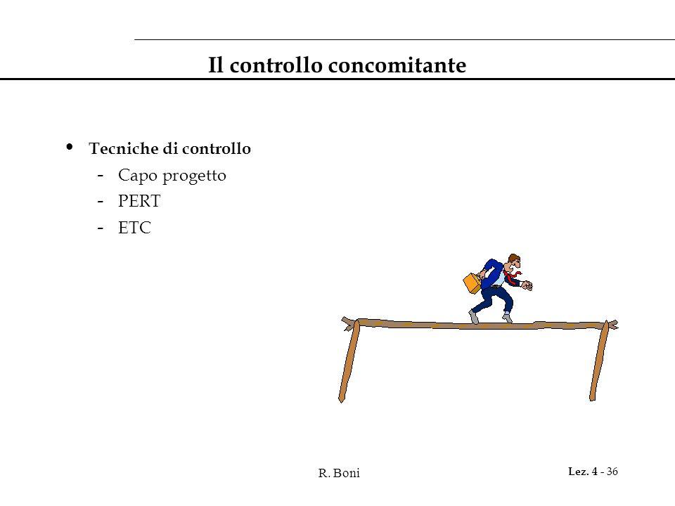 R. Boni Lez. 4 - 36 Il controllo concomitante Tecniche di controllo - Capo progetto - PERT - ETC