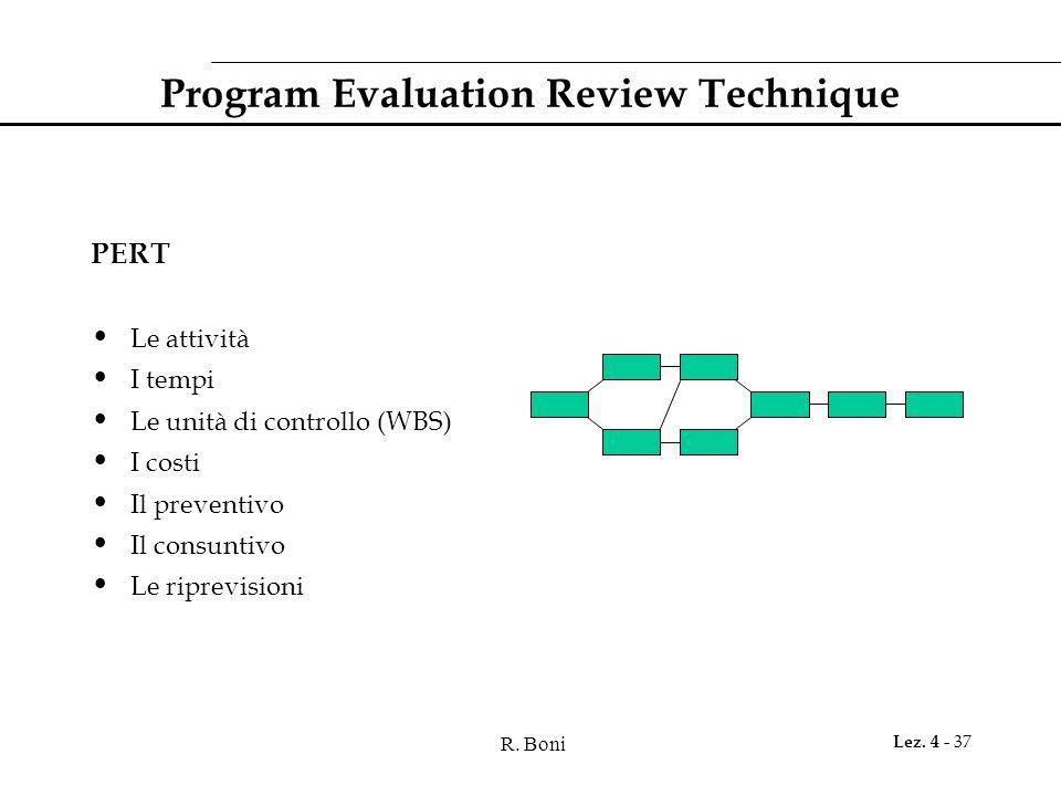 R. Boni Lez. 4 - 37 Program Evaluation Review Technique PERT Le attività I tempi Le unità di controllo (WBS) I costi Il preventivo Il consuntivo Le ri