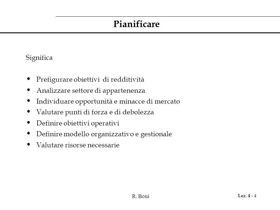 R. Boni Lez. 4 - 4 Pianificare Significa Prefigurare obiettivi di redditività Analizzare settore di appartenenza Individuare opportunità e minacce di