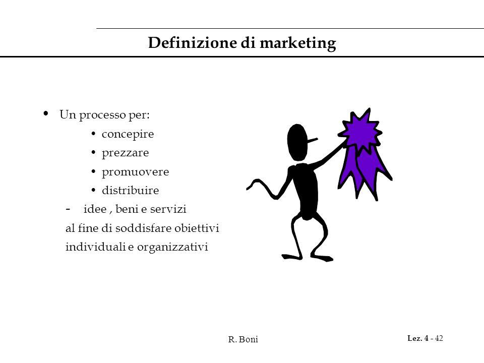 R. Boni Lez. 4 - 42 Definizione di marketing Un processo per: concepire prezzare promuovere distribuire - idee, beni e servizi al fine di soddisfare o