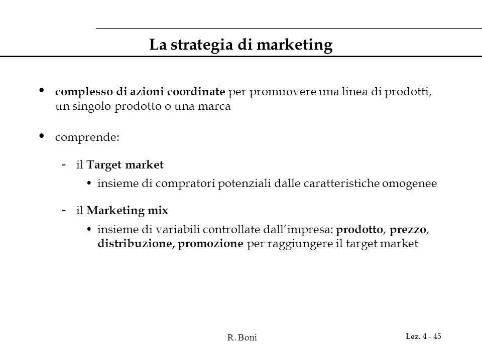 R. Boni Lez. 4 - 45 La strategia di marketing complesso di azioni coordinate per promuovere una linea di prodotti, un singolo prodotto o una marca com