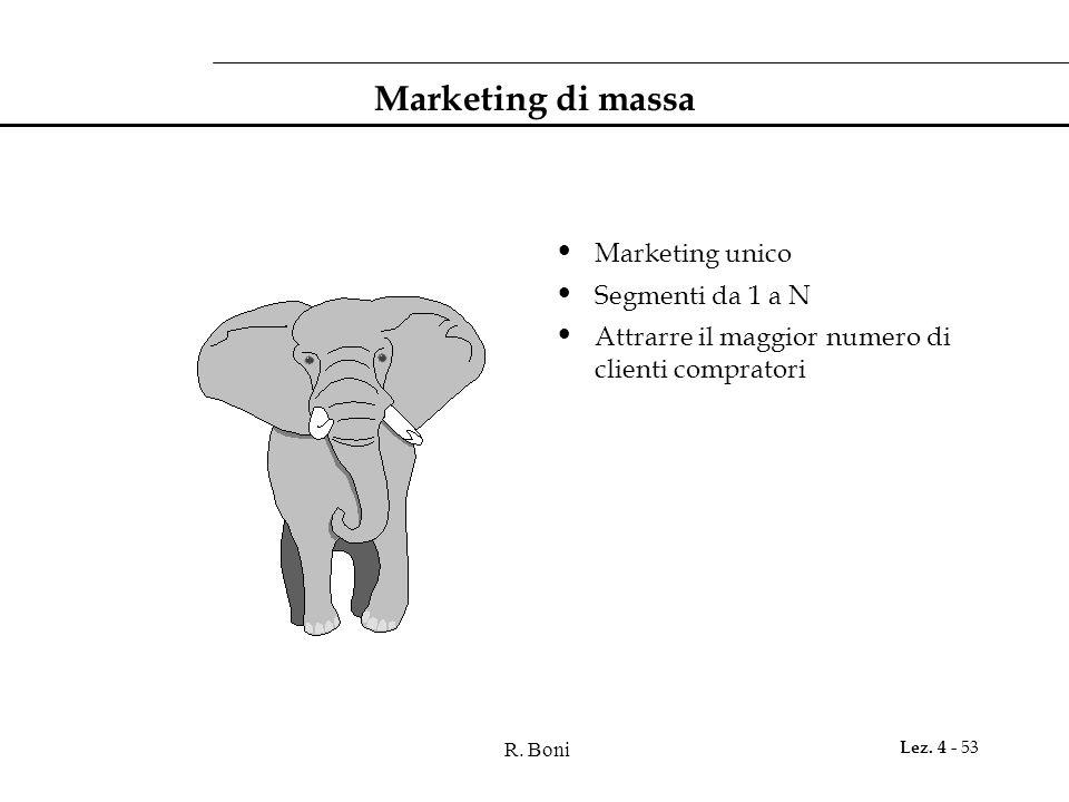 R. Boni Lez. 4 - 53 Marketing di massa Marketing unico Segmenti da 1 a N Attrarre il maggior numero di clienti compratori