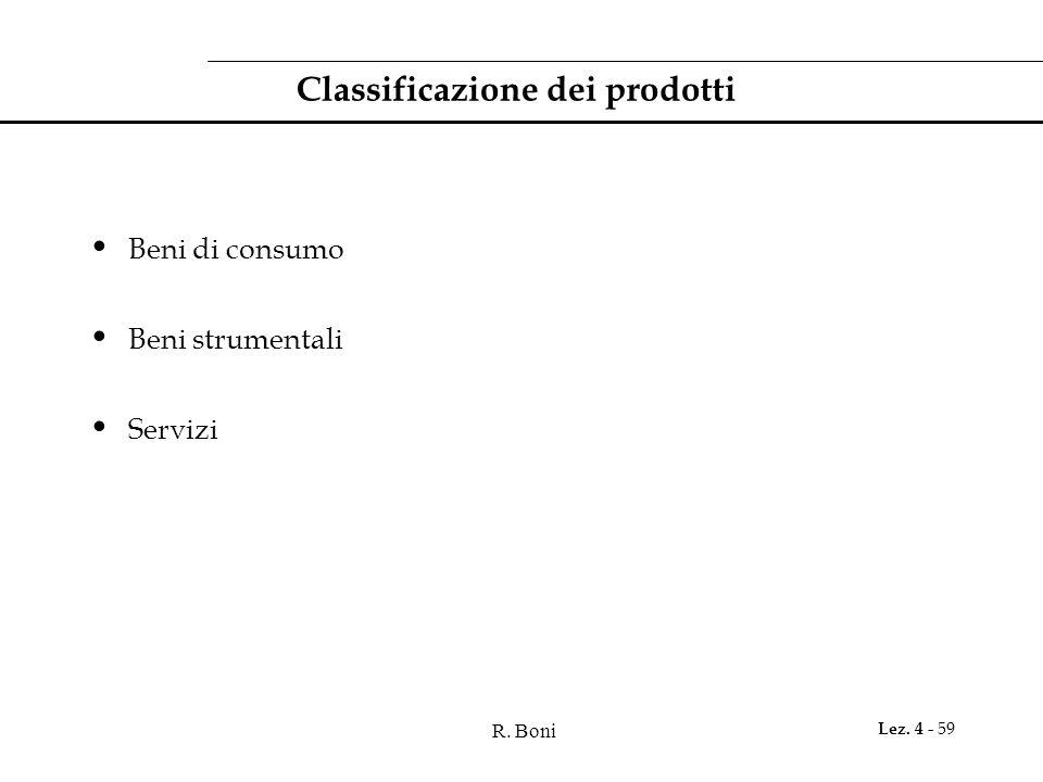 R. Boni Lez. 4 - 59 Classificazione dei prodotti Beni di consumo Beni strumentali Servizi