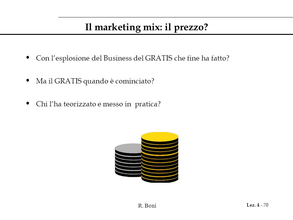 R. Boni Lez. 4 - 70 Il marketing mix: il prezzo? Con lesplosione del Business del GRATIS che fine ha fatto? Ma il GRATIS quando è cominciato? Chi lha