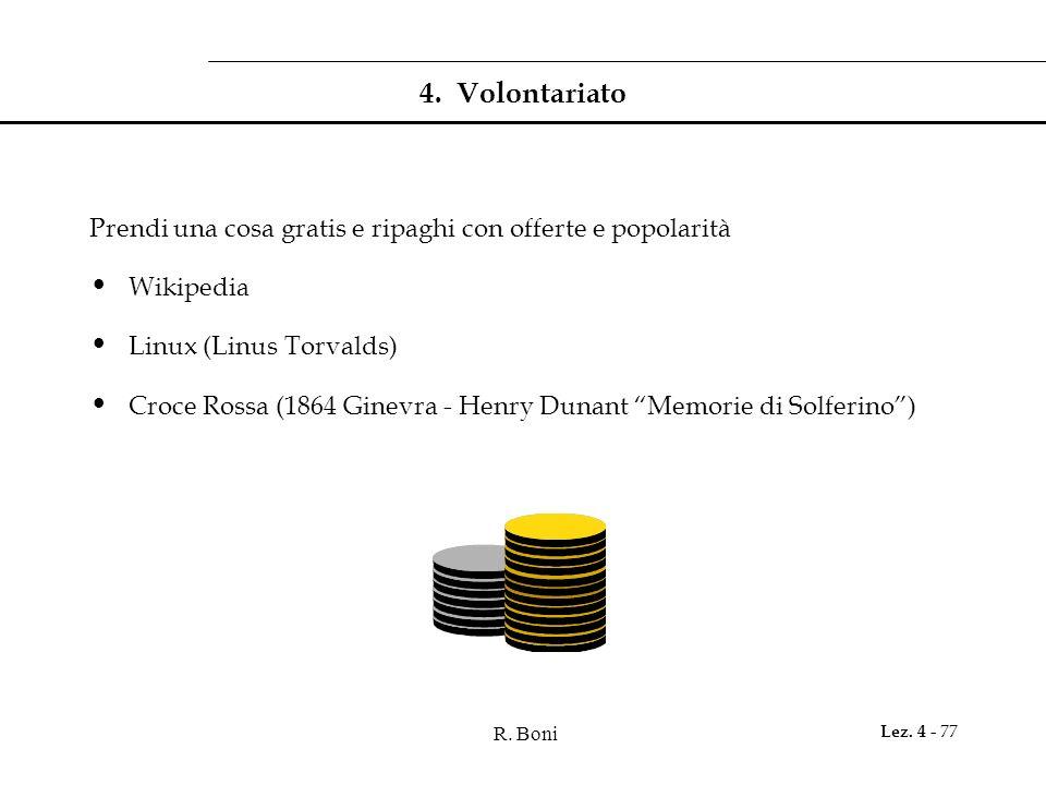 R. Boni Lez. 4 - 77 4. Volontariato Prendi una cosa gratis e ripaghi con offerte e popolarità Wikipedia Linux (Linus Torvalds) Croce Rossa (1864 Ginev