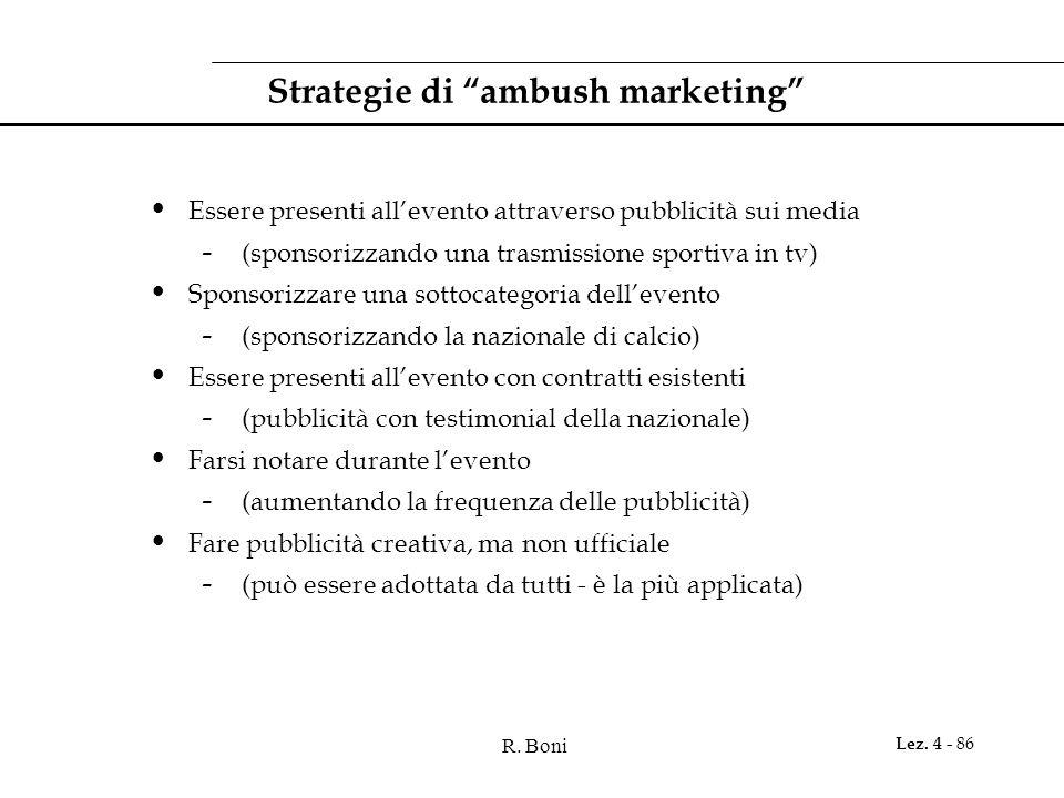 R. Boni Lez. 4 - 86 Strategie di ambush marketing Essere presenti allevento attraverso pubblicità sui media - (sponsorizzando una trasmissione sportiv