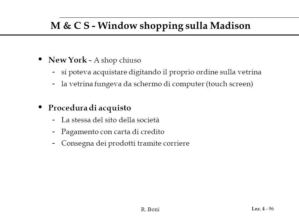 R. Boni Lez. 4 - 96 M & C S - Window shopping sulla Madison New York - A shop chiuso - si poteva acquistare digitando il proprio ordine sulla vetrina
